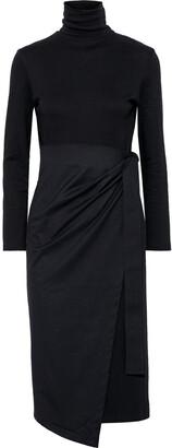 GOEN.J Wrap-effect Cotton-jersey Turtleneck Midi Dress