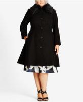 City Chic Trendy Plus Size Faux-Fur-Trim A-Line Coat