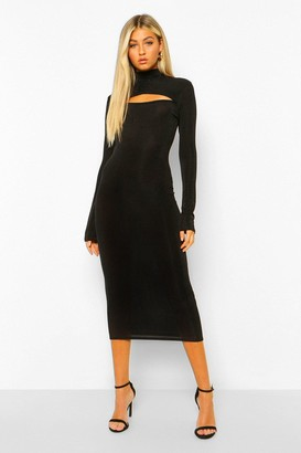 boohoo Tall Glitter Cut Out High Neck Bodycon Midi Dress
