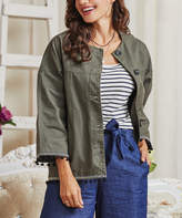 Suzanne Betro Weekend Women's Non-Denim Casual Jackets 101OLIVE - Olive Green Pom-Pom Trim Relaxed-Fit Yoke Jacket - Women