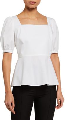 Elie Tahari Soren Short-Sleeve Peplum Shirt