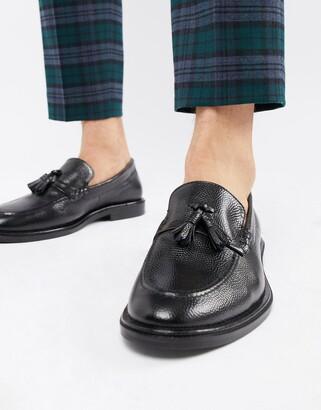 Walk London West tassel loafers in black milled leather