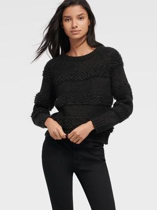 DKNY Unisex Textured Crewneck Sweater - Black - Size XL
