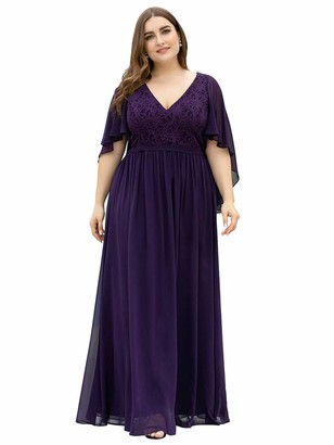 Ever Pretty Ever-Pretty Women's V Neck A Line Ruffle Sleeves Chiffon Empire Waist Plus Size Maxi Mother of Bride Dresses Dark Purple 20UK