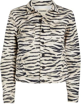 L'Agence Celine Tiger Stripe Denim Jacket