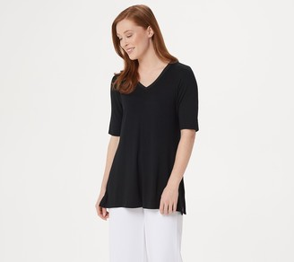 H by Halston Essentials Elbow-Sleeve V-Neck Tunic w/ Wide Side Slits