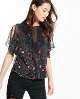 Express flutter sleeve floral dot print high neck blouse