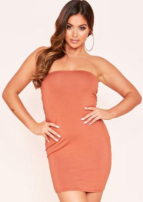 Ever New Rosalie Tan Bandeau Basic Jersey Mini Dress