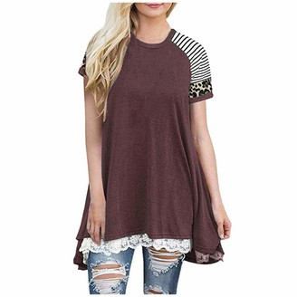 CUTUDE Shirts Womens Lace Casual Leopard Short Sleeve Tunic Tops Loose Blouse Ladies Fashion Blouse A-Line Flowy Summer T Shirt Tee (Wine XL)