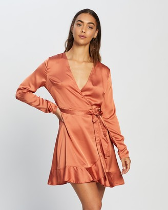 Missguided Ruffle Hem Wrap Tea Dress