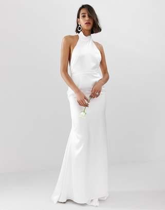 Asos Edition EDITION halter backless maxi wedding dress-White