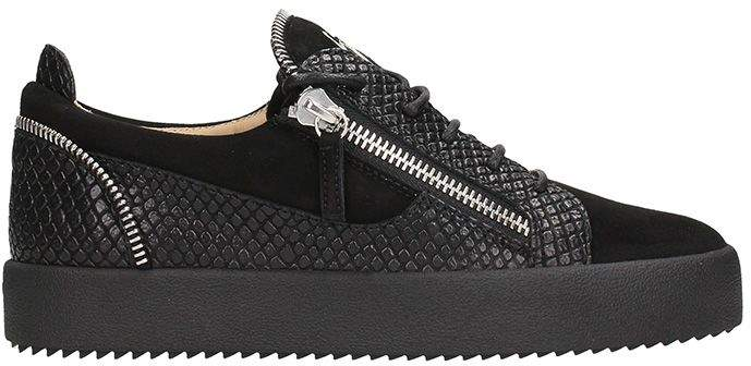 Giuseppe Zanotti Low Black Leather And Suede Sneakers