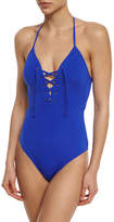 Jets Illuminate Plunging Lace-Up Front One-Piece Swimsuit
