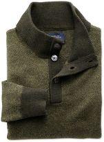 Khaki Jacquard Button Neck Wool Jumper Size Xs By Charles Tyrwhitt