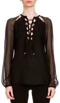 Altuzarra Benny Lace-Up Satin Blouse, Black