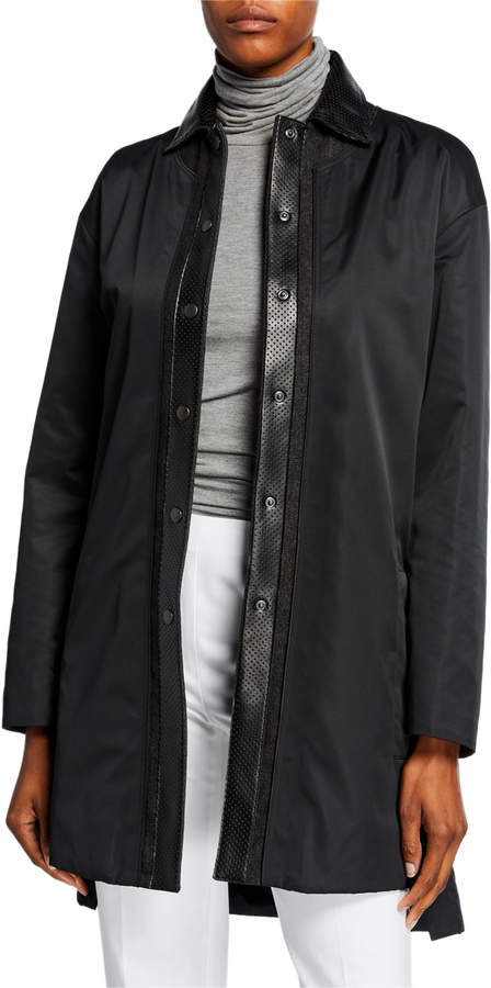 Akris Punto Reversible Leather-Trim Coat