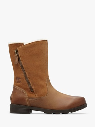 Sorel Emelie Fold Over Leather Boots, Camel Brown