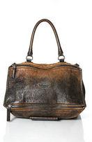 Givenchy Distressed Brown Leather Medium Pandora Satchel Handbag