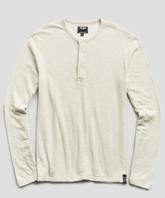 Todd Snyder Double knit Henley in Oatmeal