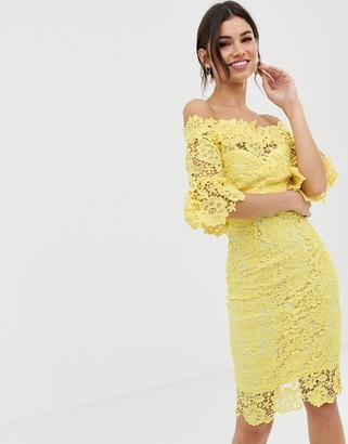 Paper Dolls Off Shoulder Crochet Dress With Frill Sleeve-Yellow