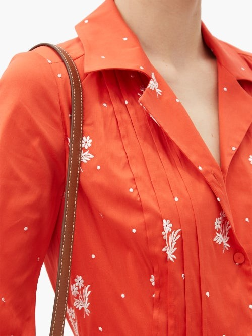 Thumbnail for your product : Erdem Broderick Floral-embroidered Cotton-blend Dress - Red White