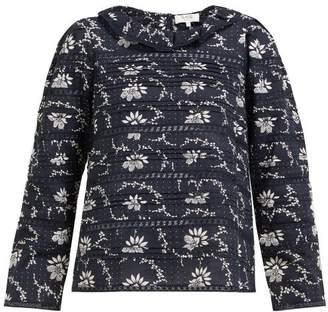 Sea Tatiana Pintucked Floral-print Cotton Blouse - Womens - Navy