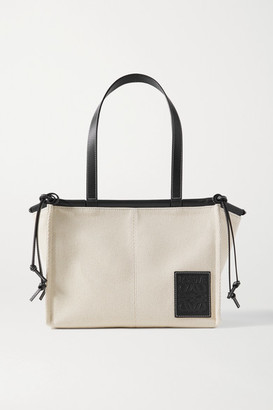 Loewe Cushion Small Leather-trimmed Canvas Tote - Off-white