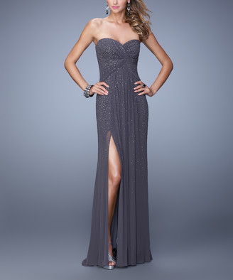 La Femme Women's Special Occasion Dresses Gunmetal - Gray Bead Gathered Sweetheart Gown - Women