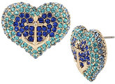 Betsey Johnson Anchors Away Pave Heart Stud Earrings
