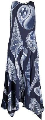 Stella McCartney Shell-Print Handkerchief-Hem Maxi-Dress