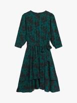 Oasis Shadow Floral Skater Dress, Multi Green