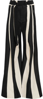 Ann Demeulemeester Striped Cotton And Linen-blend Wide-leg Pants - Black