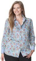 Chaps Plus Size Printed No-Iron Sateen Shirt