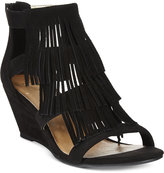 Material Girl Hannah Demi-Wedge Fringe Sandals, Only at Macy's