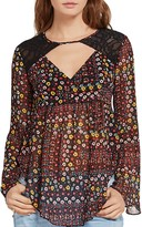 BCBGeneration Floral-Print Bell-Sleeve Top