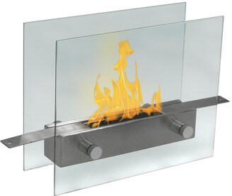 Anywhere Fireplaces Metropolitan Tempered Glass & Brushed Stainless Steel Tabletop Fireplace
