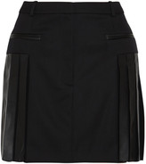 Alexander Wang Leather-trimmed pleated wool-blend mini skirt