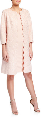 Albert Nipon Two-Piece Embroidered Coat and Dress Set