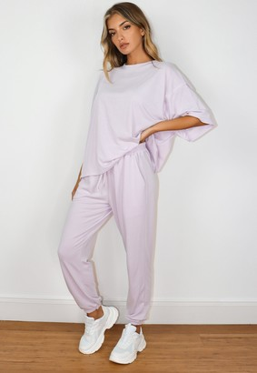 Missguided Petite Lilac Oversized T Shirt And Joggers Co Ord Set