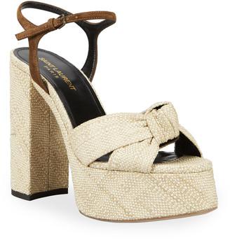 Saint Laurent Bianca Platform Ankle-Wrap Sandals