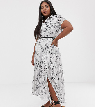 Religion Plus shirt dress with studded waist belt in jacquard print-White