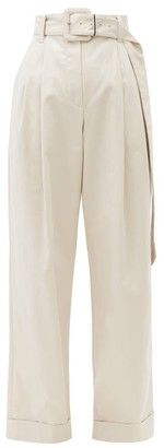 Brunello Cucinelli Belted Cotton-blend Wide-leg Trousers - Light Grey