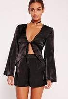 Missguided Petite Exclusive Satin Shorts Black