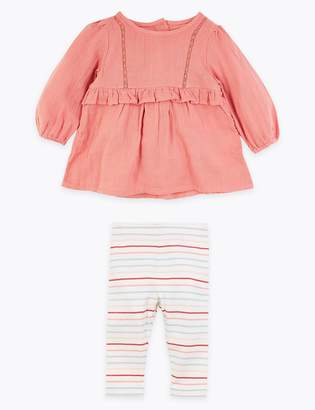 Marks and Spencer Cotton Frill Top & Bottom Outfit