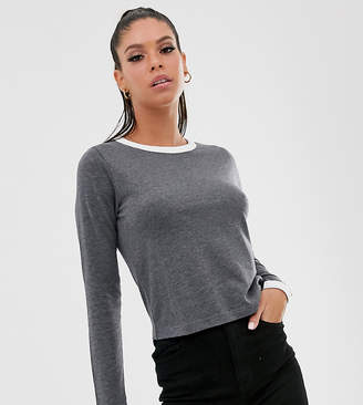 Brave Soul Tall eloise long sleeve t shirt with contrast trim-Grey