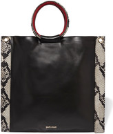 Just Cavalli Snake-effect and smooth leather tote