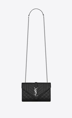 Saint Laurent Envelope Small Bag In Mix Matelasse Grain De Poudre Embossed Leather Black Onesize