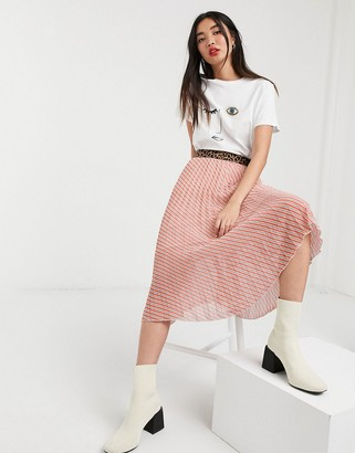 Soaked In Luxury stripe skirt with leopard waistband