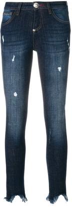 Philipp Plein Distressed Raw Edge Tassel Hem Jeans