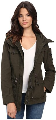 Levi's Washed Cotton Fashion Four-Pocket Military w/ Hood (Army Green) Women's Clothing